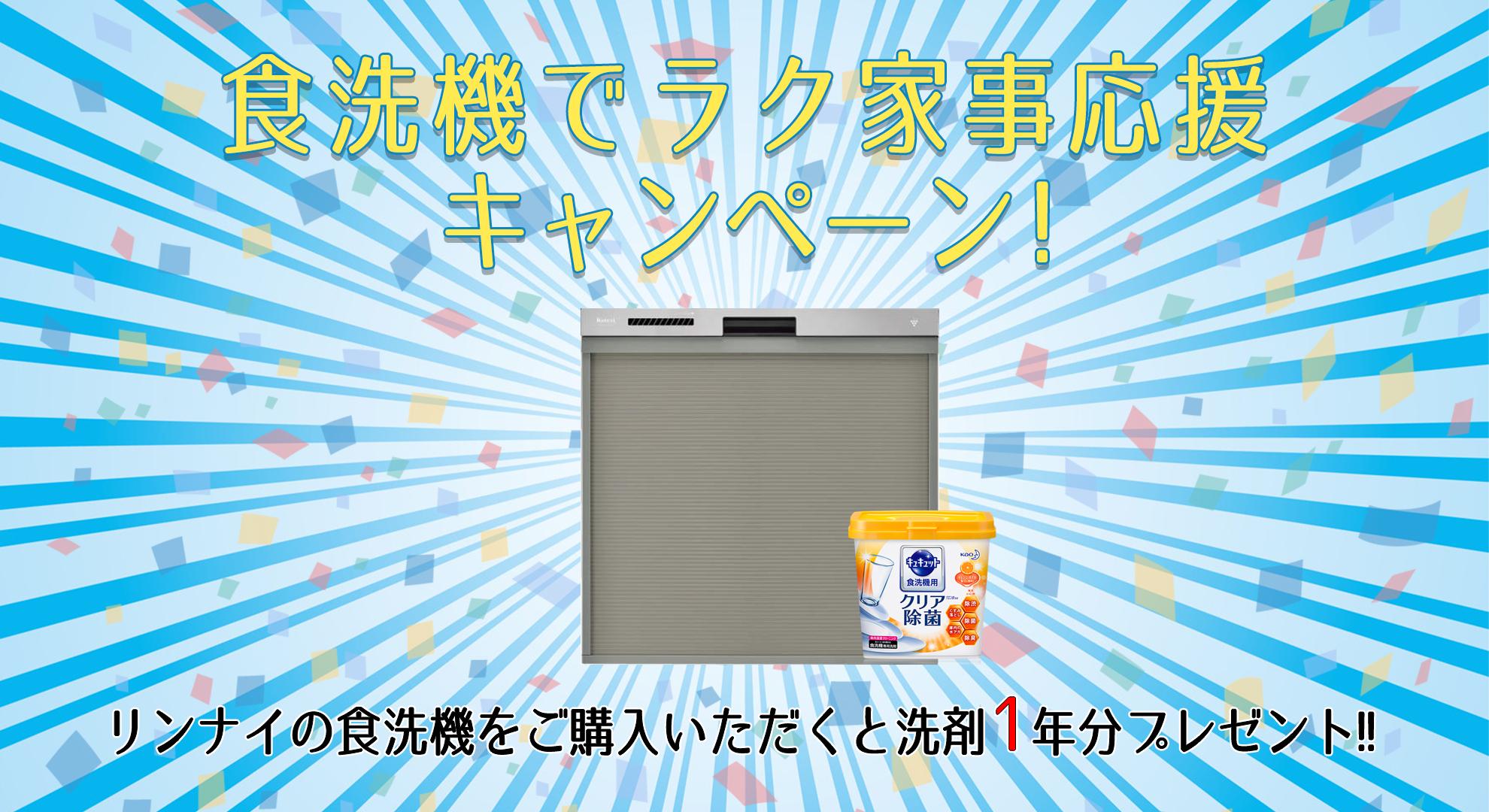 洗剤1年分がもらえる!食洗機でラク家事応援キャンペーン!!